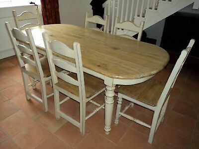 Farmhouse shabby chic style Dining Table and six matching chairs