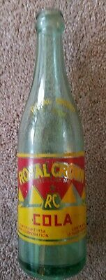 Vintage RC Royal Crown Cola 12 OZ Light Green Glass Bottle Cleveland Ohio