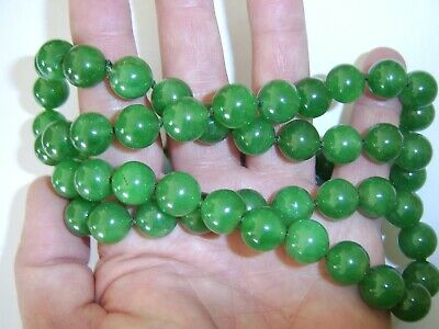 Most Beautiful Antique Chinese Cavred Large Size Jade Bead Necklace