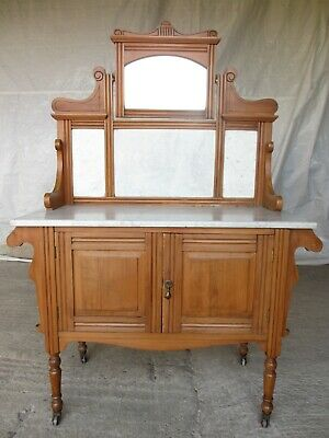 Victorian satinwood washstand with mirrored and marble back (ref 708)