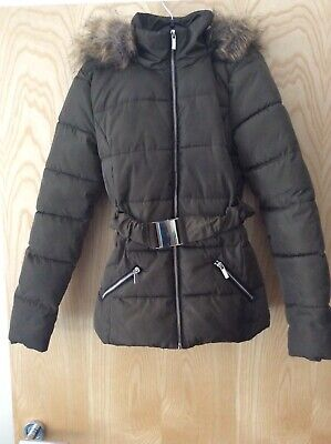 New Look 915 girls  Khaki coat aged 10 to 11 yrs  with detachable  Fur on hood