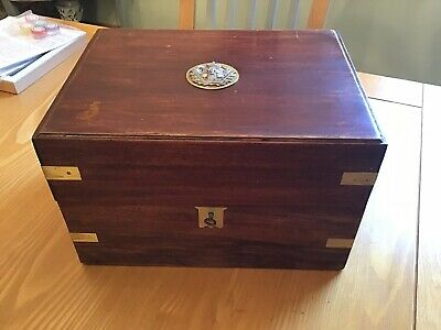 Old Antique Mahogany Wooden Box With Brass Corners .