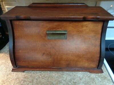 LARGE Vintage Wood Bread Box Farmhouse Kitchen Decor Shabby Chic
