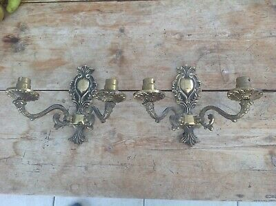 Pair of Vintage  Brass Double arm wall lights scones