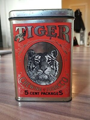 Vintage Advertising Sign Tin Can Bright Tiger Chewing Tobacco NM COND Original