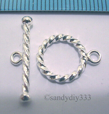 1x BRIGHT STERLING SILVER TOGGLE TWIST ROPE ROUND CLASP 11mm (#523E)