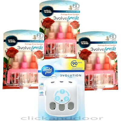 Ambi Pur 3Volution Plug In Diffuser With 3 X Perfect Scents Refills Cottage Rose