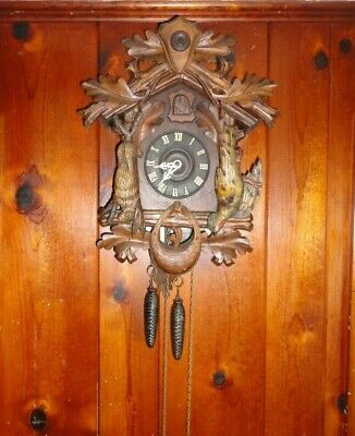 Vintage Hunters Cuckoo Clock with Rabbit and Pheasant
