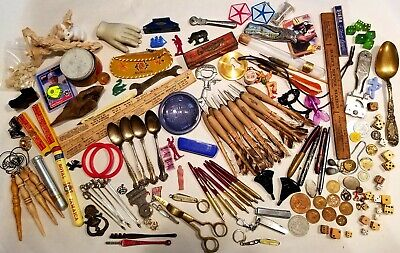 Vintage Junk Drawer Lot Of Interesting Items Knives Toys Coins Darts Dice Tools
