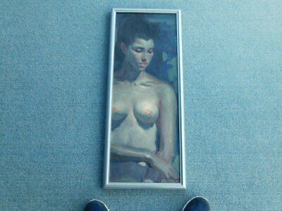 Beautiful Vintage signed Nude Girl Young Woman Oil Painting 1940's - 1950's era