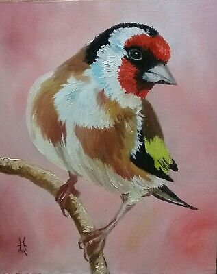 Hand painted - Oil on wood - Original painting-Direct sales artist-Goldfinch