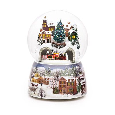 Train & Snowy Village Christmas Snow Globe (Moving & Musical)