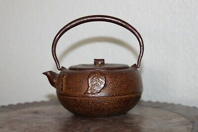 Old Japanese Cast Iron Teapot Tetsubin Signed 4.5""