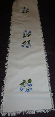 """Embroidered Table Runner blue flowers 12"""" x 47""""   dresser scarf"""