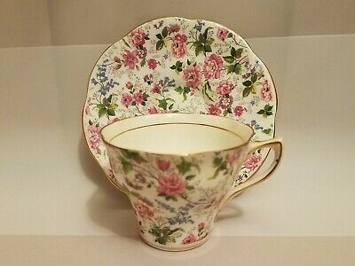 Vintage Rosina 5063 Bone China England Rose Floral Tea Cup and Saucer