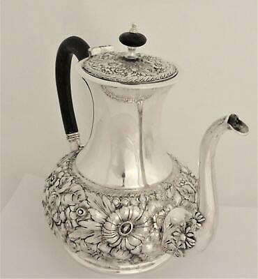 Victorian Barbour Silver Plate Floral Embossed Repousse Teapot Coffee Pot