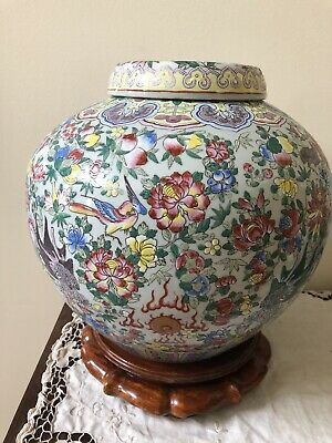 "Antique /vantage Chinese Large Porcelain Jar Vase,H 11.5"" Very Rare, Nice"
