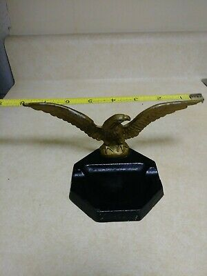 Vintage cast iron and diecast ashtray trinket tray black gold eagle metal
