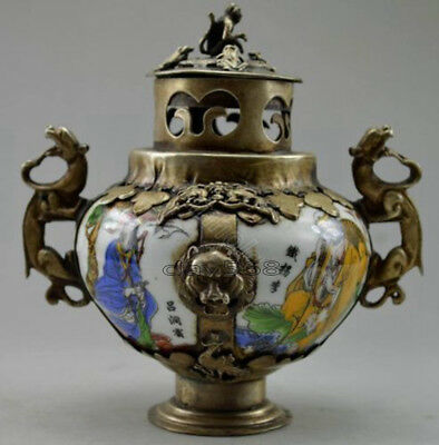 Old Chinese Tibet Silver Hand Painted 8 Immortal Incense Burner & Lid CZ7