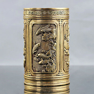 Old Chinese Brass Hand Carved Koi Fish Pattern Brush Pot Xuande Mark