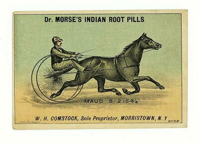 Quack Medicine Dr Morse's Indian Root Pills Horse Maud MORRISTOWN NY Trade Card