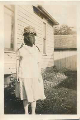 O13 Vintage Photo Halloween Scary Creepy Face Covered Lady with Back Mask 2.5x3