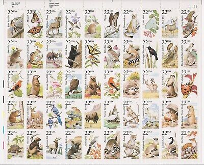 US STAMPS Sheet 22¢(50) NORTH AMERICAN WILDLIFE c 1987 MNH #2286-2335 & COVER