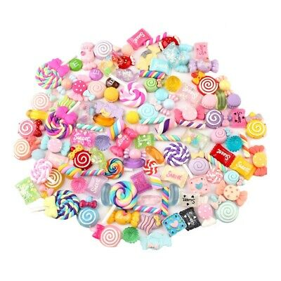 100 Pieces Slime Charms With Mermaid Tail Candy Sugar Dolphin Resin Flatbac Z1S4