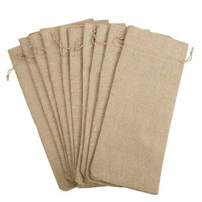 10pcs Jute Wine Bags, 14 x 6 1/4 inches Hessian Wine Bottle Gift Bags with W5Z9