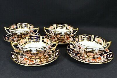 Royal Crown Derby Traditional Imari 2451 Set of 4 Bouillon Cups & Saucers 1920