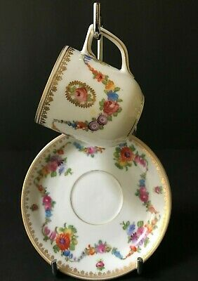 """Antique  Porcelain Cup & Saucer with Gold Edging & Flowers """" Unmarked"""""""