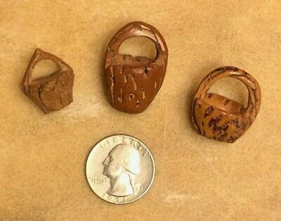 3 Delightful Miniature Baskets Of Hand-Carved Nuts - Ethnic Vintage Collection