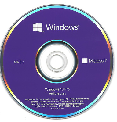 Microsoft Windows 10 Pro 64 Bit DVD Professional Win CD Deutsch Vollversion Neu
