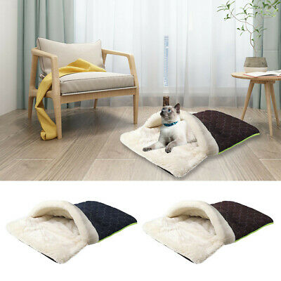 Pet Cat Dog Nest Bed Puppy Soft Warm Cave House Winter Sleeping Bag Mat Pad UK