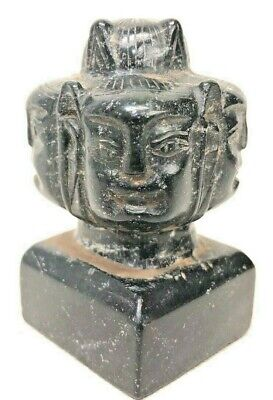 Chinese Carved Hardstone Or Jade Seal With Multi-Faced Head