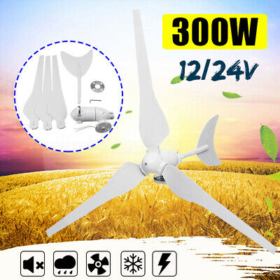 300W 3 Blades 12V/24V Wind Turbine Generator Controller Charger Home Horizontal