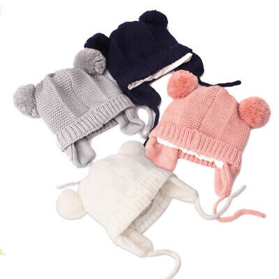 Toddler Baby Kids Winter Hat Soft Wool Warm Earflap Beanie Infant Knit Cap New