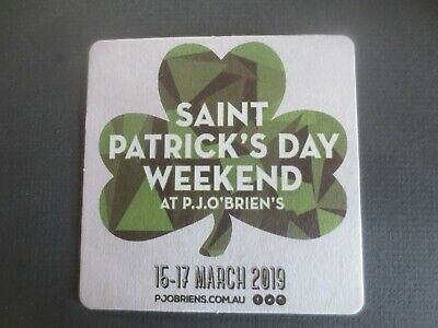 """1 only GUINNESS Brewery, Australian Issue / 2019 Saint Patrick,s """" Beer Coaster"""