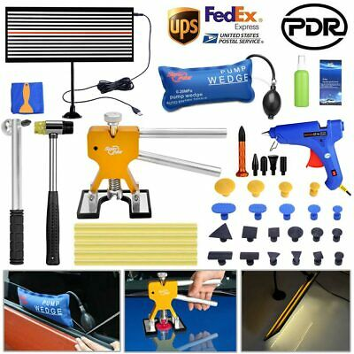 PDR Car Body Paintless Dent Removal LED Line Board Puller Lifter Repair Tool Kit