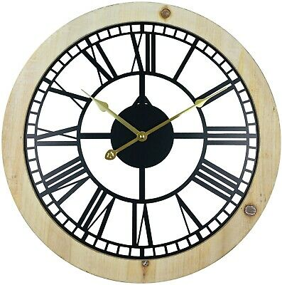Wall Clock Black Metal Cut Out Roman Numerals Gold Hands Rustic Wood Border 45cm
