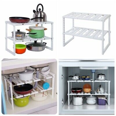 2 Tier Under Sink Cabinet Organizer Storage Rack Kitchen Bath Shelf Functional