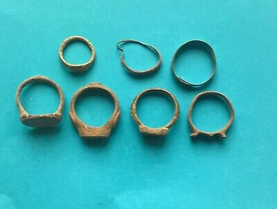 Ancient Medieval Lot of 7 Bronze Rings