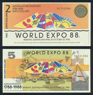 "Australia: 1988 $2 & $5 ""BRISBANE WORLD EXPO"" in Limited Edition Envelope. RARE!"
