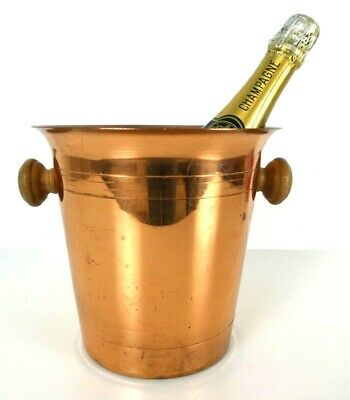 Vintage French Copper Champagne Ice Bucket Wine Cooler Wood Handle Retro