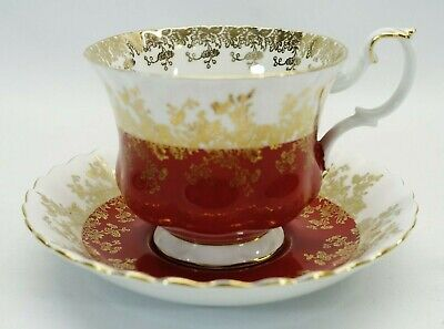 Royal Albert 'Regal Series' Red Footed Bone China Tea Cup & Saucer, ruby, coffee