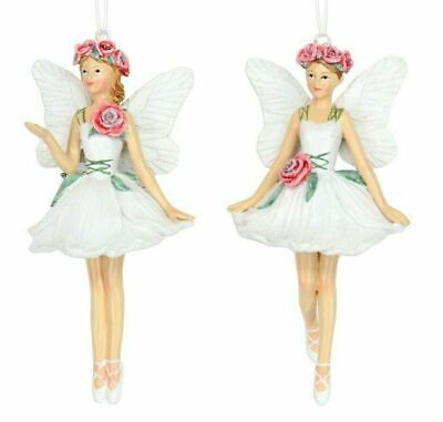 2x Flower Rose Fairies Pink Green Fairy Christmas Tree Decorations Gisela Graham