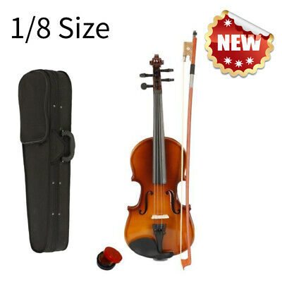 1/8 Size Acoustic Violin Fiddle Bow Rosin Bridge Strings Brown With Case Set