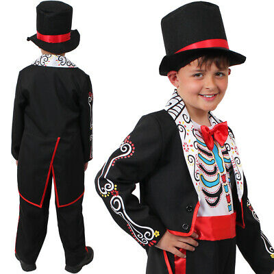 Boys Halloween Suit Mexican Day Of The Dead Fancy Dress Outfit Sugar Skull