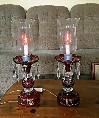 Antique Pair of Cranberry Glass Etched Base Hurricane Lamps with Hanging Prisms