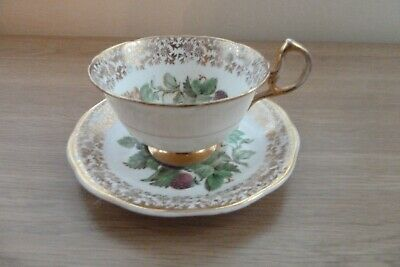 Vintage Aynsley  Bone China Autumn Fruit & Gold Cup and Saucer